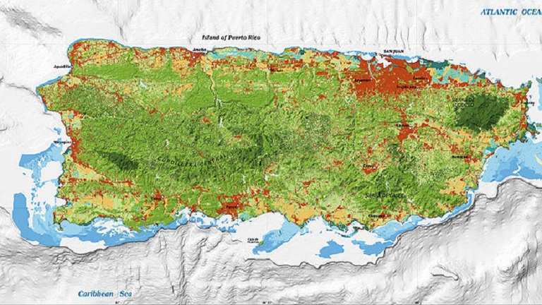 Topographical map of Puerto Rico.