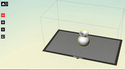 CAD graphic of flask-shaped object to print on MakerBot 3D printer