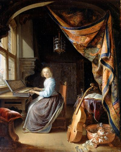 Woman at the Clavichord by Gerrit Dou, c. 1665