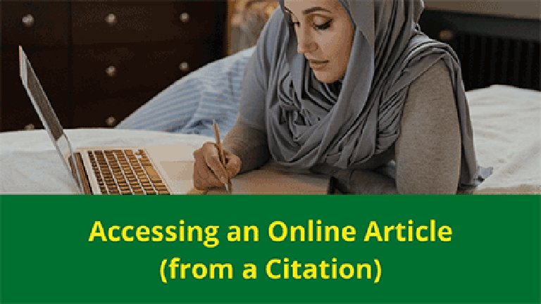woman at laptop with words Accessing an Online Article from a Citation