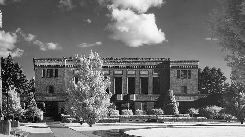 black and white photo of Knight Library