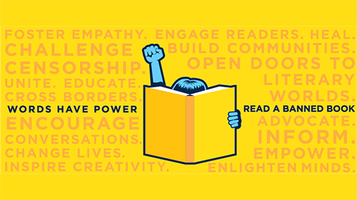 ALA Banned Books Week Logo: reader raising fist