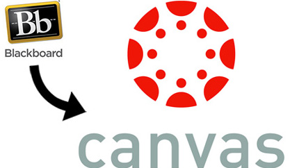 blackboard logo with an arrow pointing to canvas logo