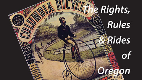 "Detail from ""Bikelandia"" exhibit poster: vintage Columbia Bicycle ad with man on pennyfarthing bike"
