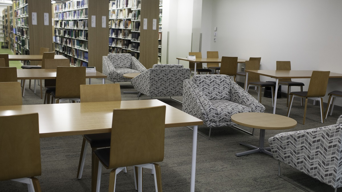 Quiet area, showing tables and soft seating