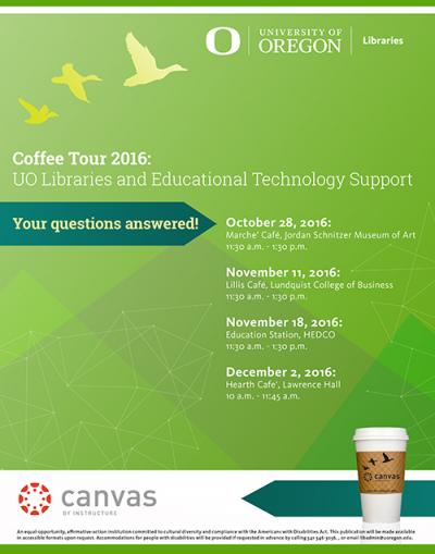 Coffee Tour 2016: UO Libraries and Educational Technology Support