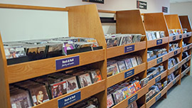 shelves of CDs