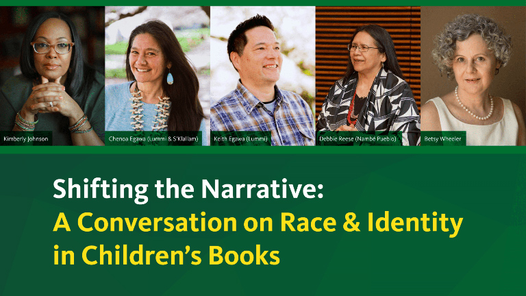 ICollage of panel participants with the title below, Shifting the Narrative: A Conversation on Race & Identity in Children's Books