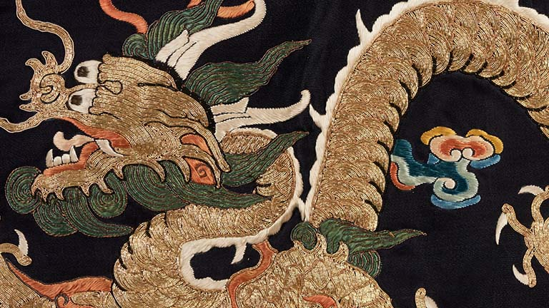 Daoist Priest's Robe (Jiangyi) with Four-Clawed Dragon Rondel Design, Qing dynasty (circa 1850-1900)