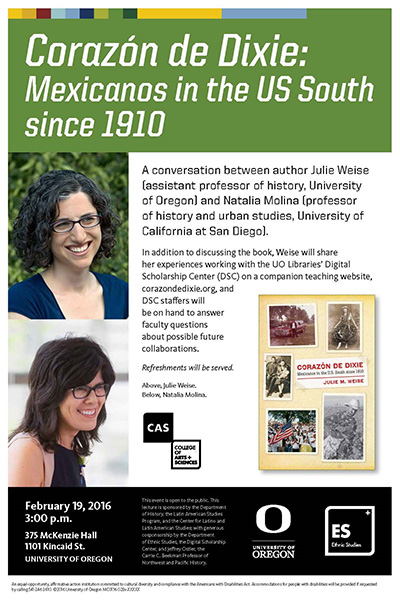 Poster advertising talk by Julie Weise, author of Corazon de Dixie
