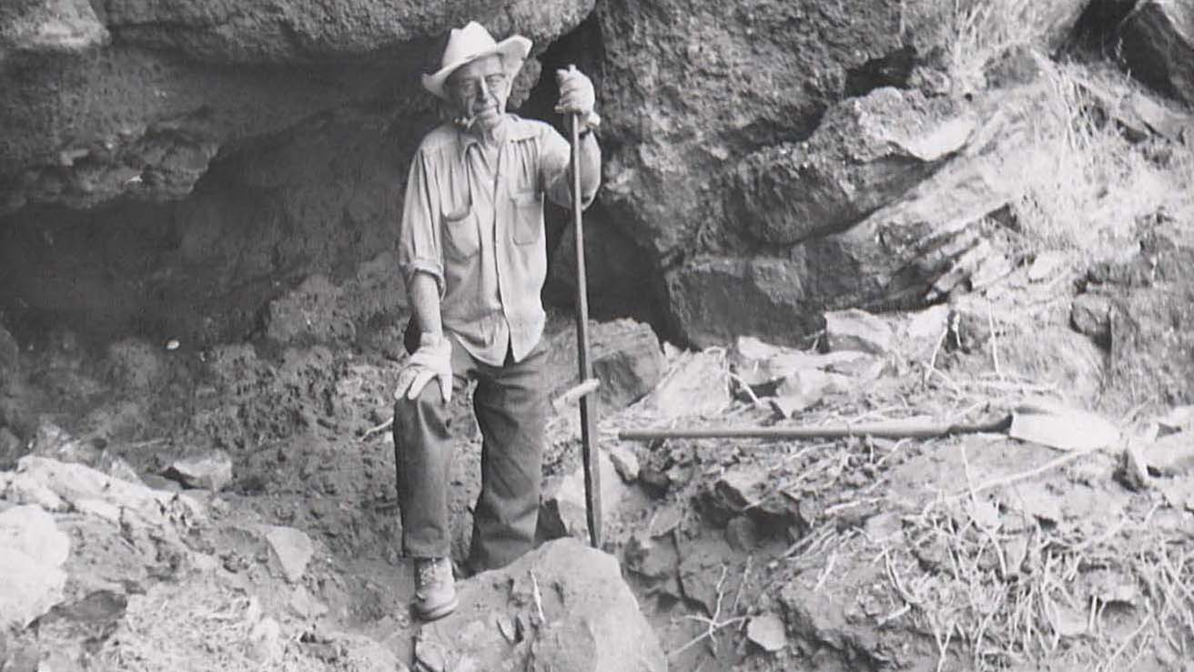 Luther Cressman at Fort Rock Cave, Oregon, 1966