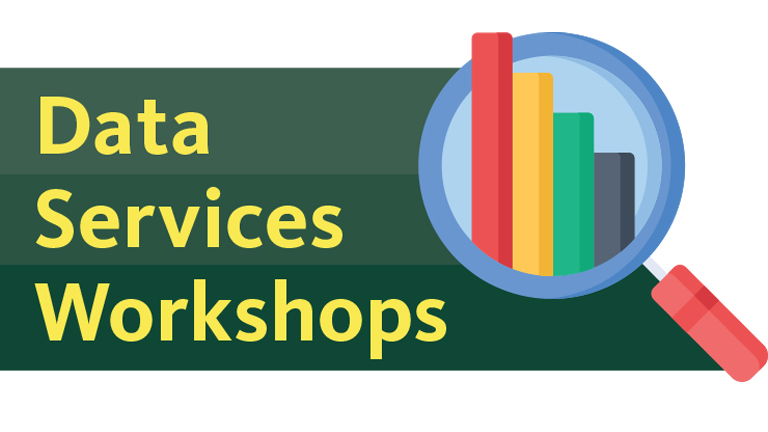 Data Services Workshops graphic with magnifying glass and graph