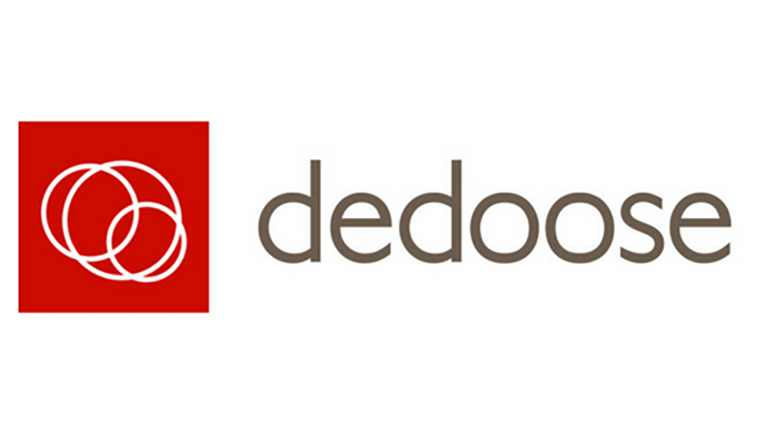 dedoose logo, red square with white circles