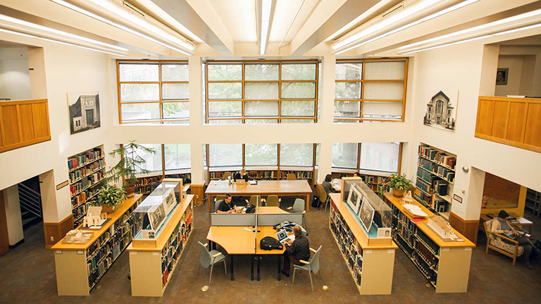 photo of the design library looking down from the balcony