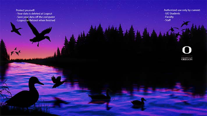 Winning digital wallpaper design features sunset over a duck pond.