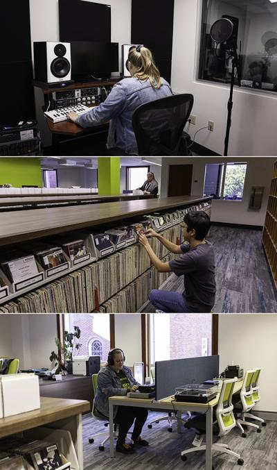 three photos of the Douglass Room with students working at music work stations