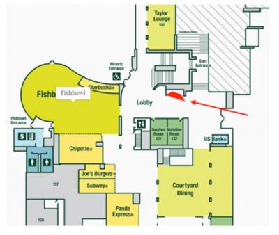 Map of Erb Memorial Union. The location of the UO Libraries table is indicated by a red arrow.