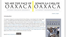 Screenshot of Face of Oaxaca website