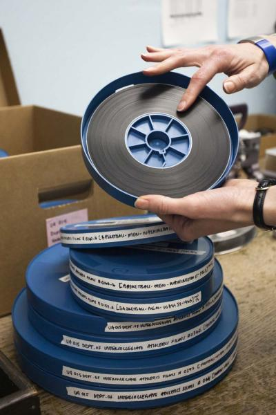 Film reels from the UO Athletics collection at UO Libraries