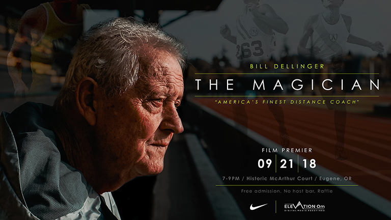 Film poster for The Magician with portrait of coach Bill Dellinger.
