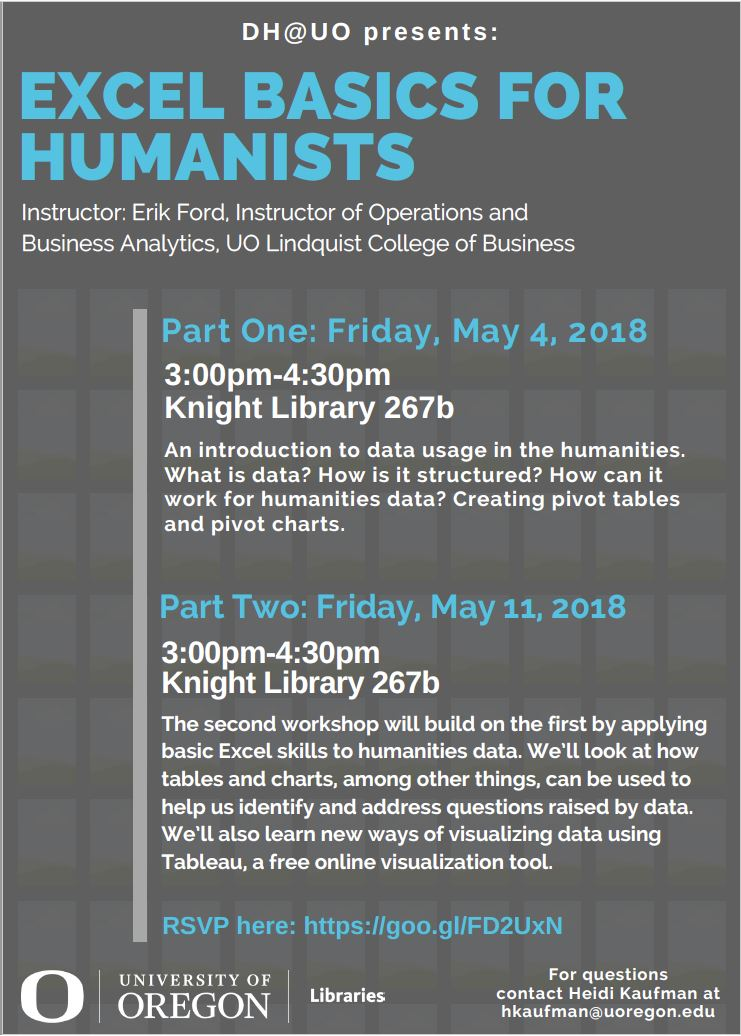 flyer for workshop on excel for humanists
