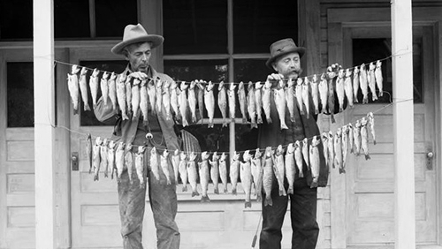 Historical photo of two men holding a strings of fish between them
