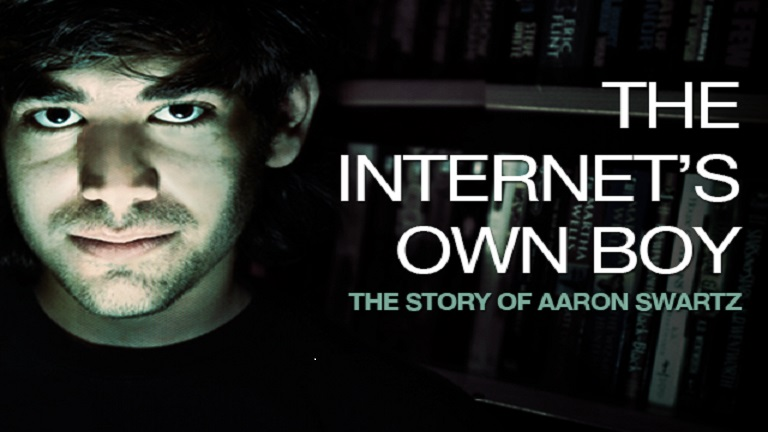 "Movie poster for ""The Internet's Own Boy,"" featuring face of Aaron Swartz"