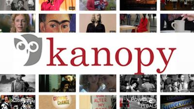 Kanopy streaming video service logo with various film stills.