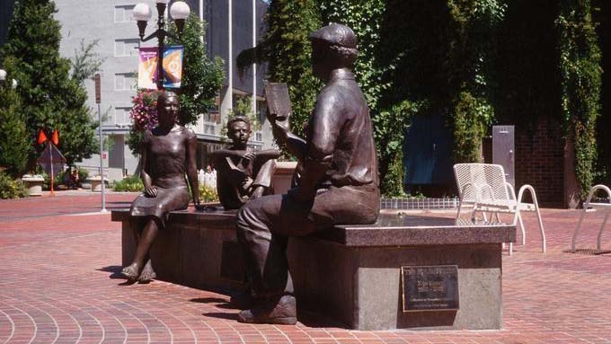 """Storyteller"" statue of Ken Kesey in downtown Eugene, Oregon"