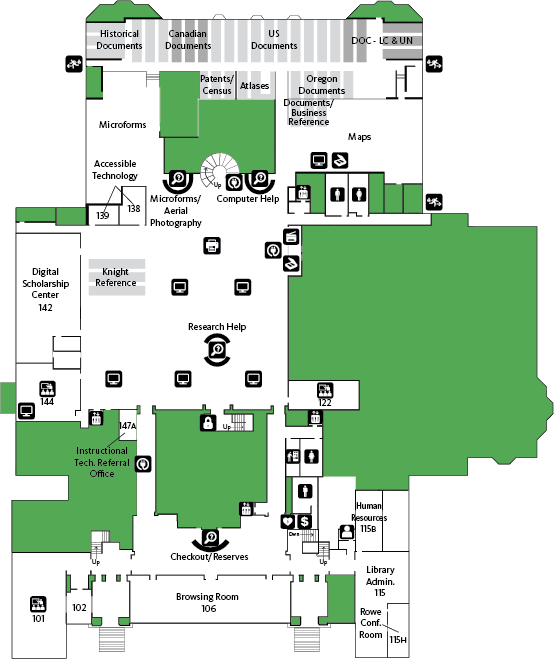 Knight Library First Floor Map