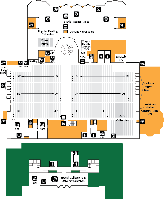 Knight Library Second Floor Map
