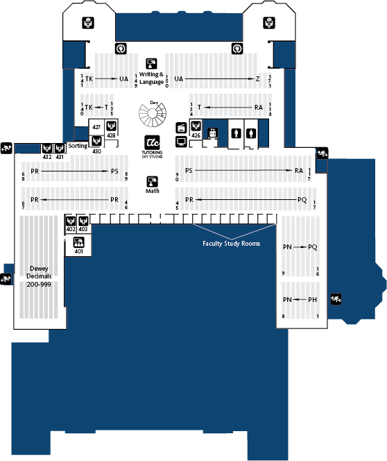 Knight Library Fourth Floor Map