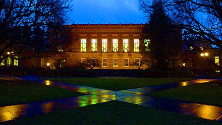 Knight Library exterior, evening image