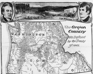 Historic newspaper map of nineteenth century Oregon Territory