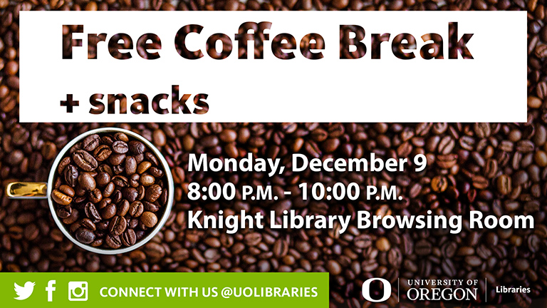 Free Coffee Break sign with coffee beans in the background