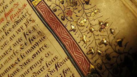close up of a gilded manuscript page