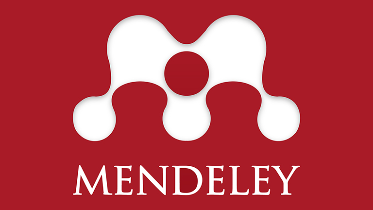 Mendeley logo image, a white letter M on a red background