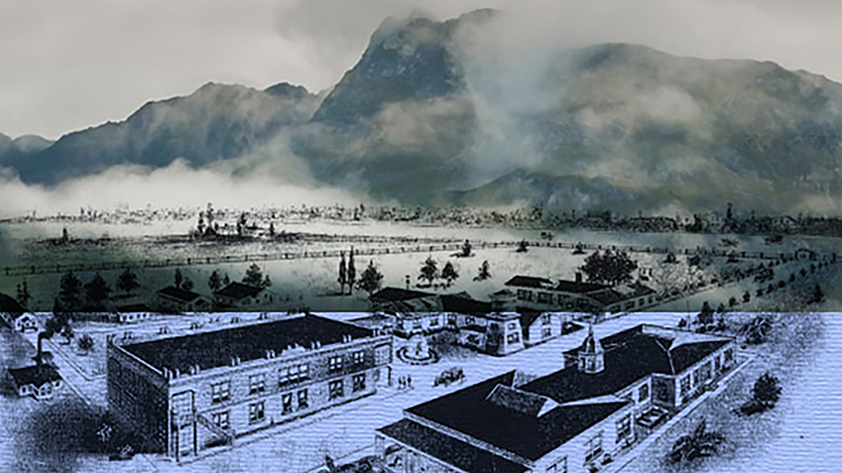 a collage of images with mountains in the background and a hospital in the foreground