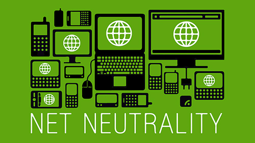 Net neutrality logo on green background