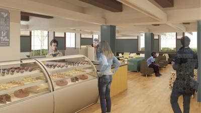 Conceptual design for new cafe in Knight Library