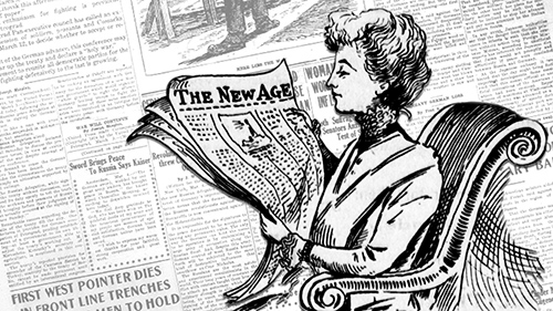 Oregon Newspapers image of a woman reading a newspaper