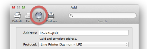 An image of the printer selection control panel with the IP icon highlighted