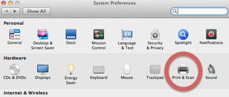 An image of the Systems Preferences panel with the Print and Scan icon highlighted.