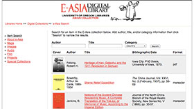 e-Asia digital library home page screenshot