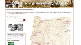 Historic Oregon Newspapers home page screenshot