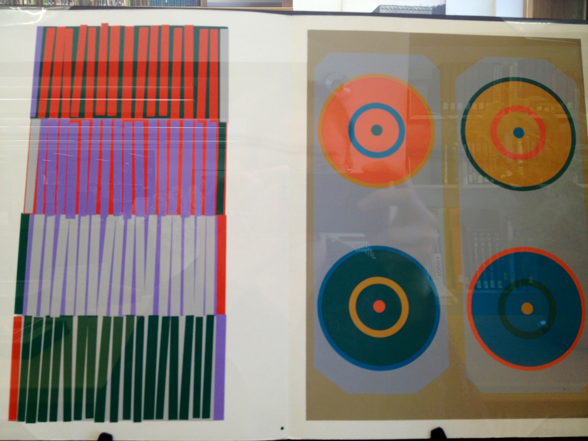 This plate explores how changes of quantity in color can change appearance and influence color. Here, four colors are presented in four different arrangements.