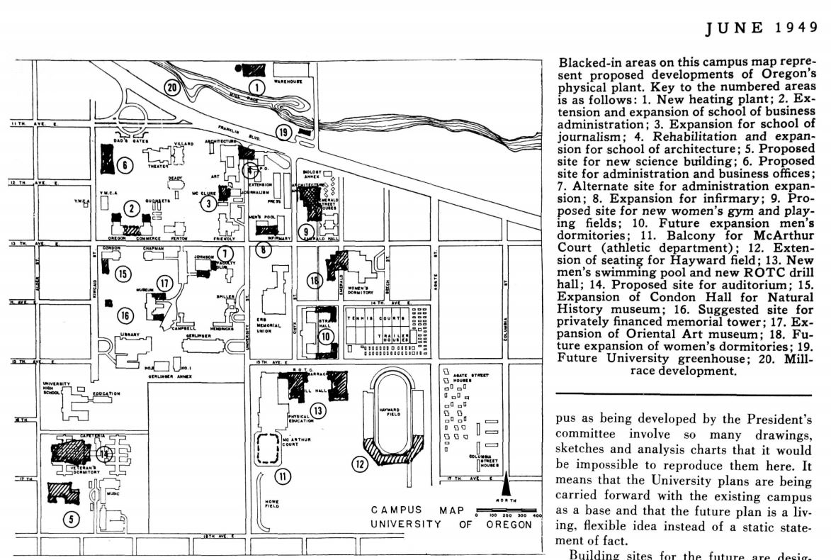 University of Oregon Campus Maps [ Architecture of the University of ...