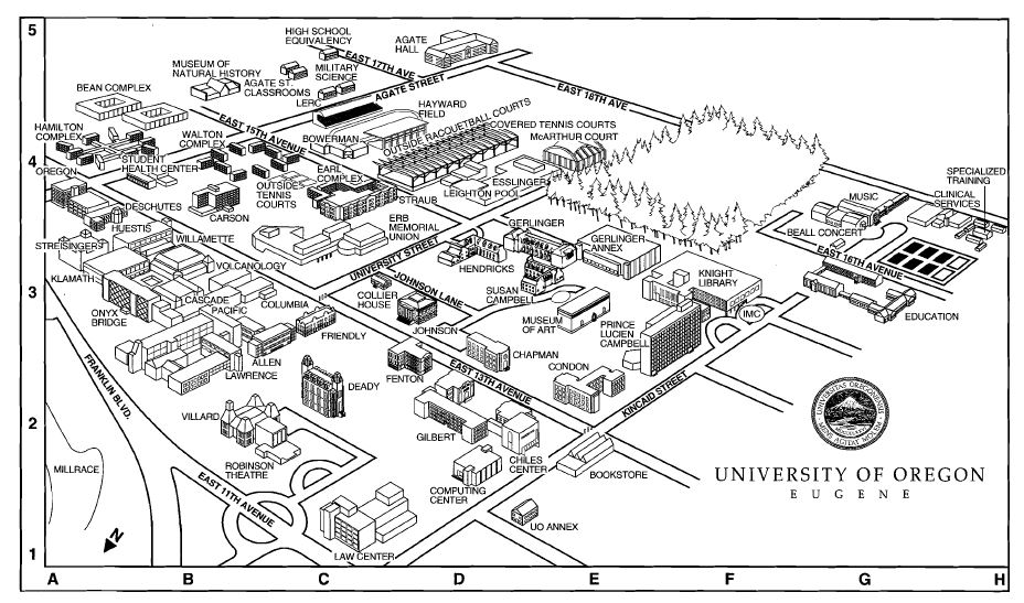 University of Oregon Campus Maps [ Architecture of the University
