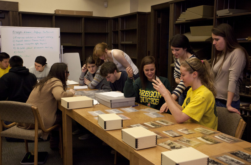 image: students in special collections classroom