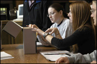 image: students using special collections